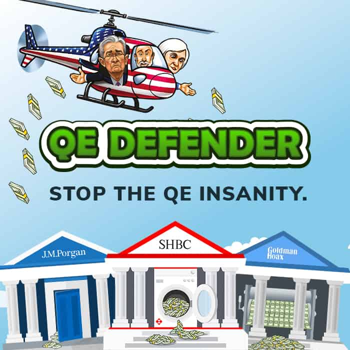 Play the QE Defender and defeat the bullion banks!